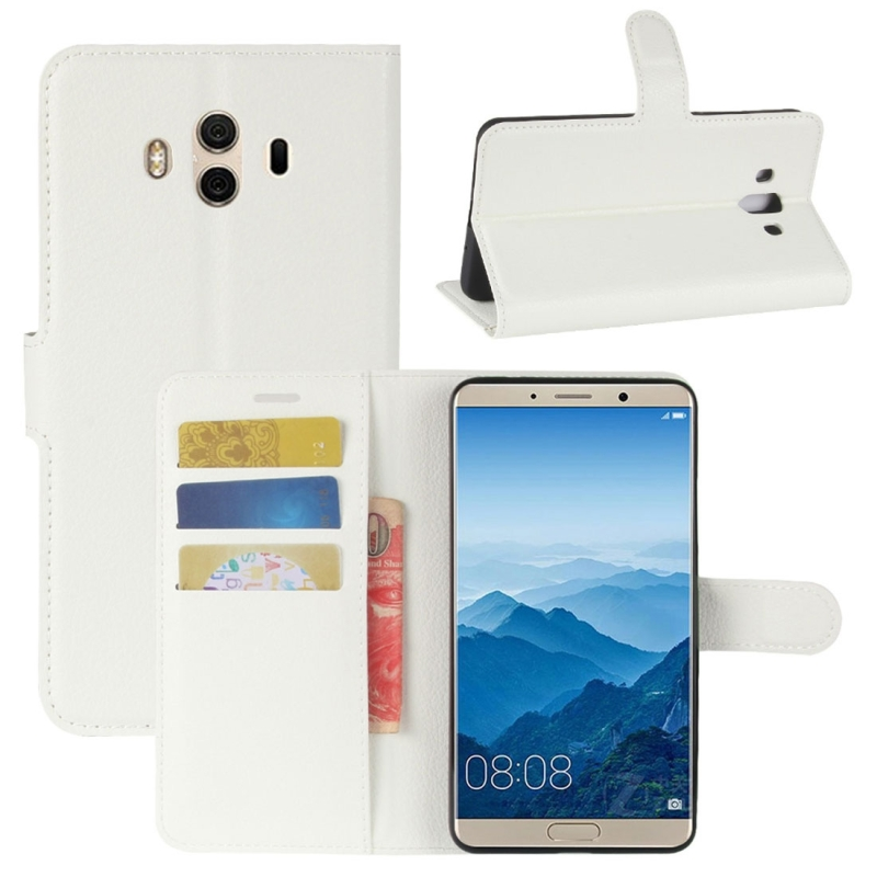 For Huawei Mate 10 Litchi Texture PU + TPU Horizontal Flip Leather Case with Holder & Card Slots & Wallet (White)