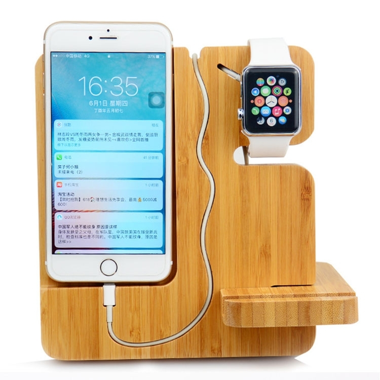 Multifunctional Creative Wooden Mobile Phone Bracket Holder for Smart Phones / Apple Watch