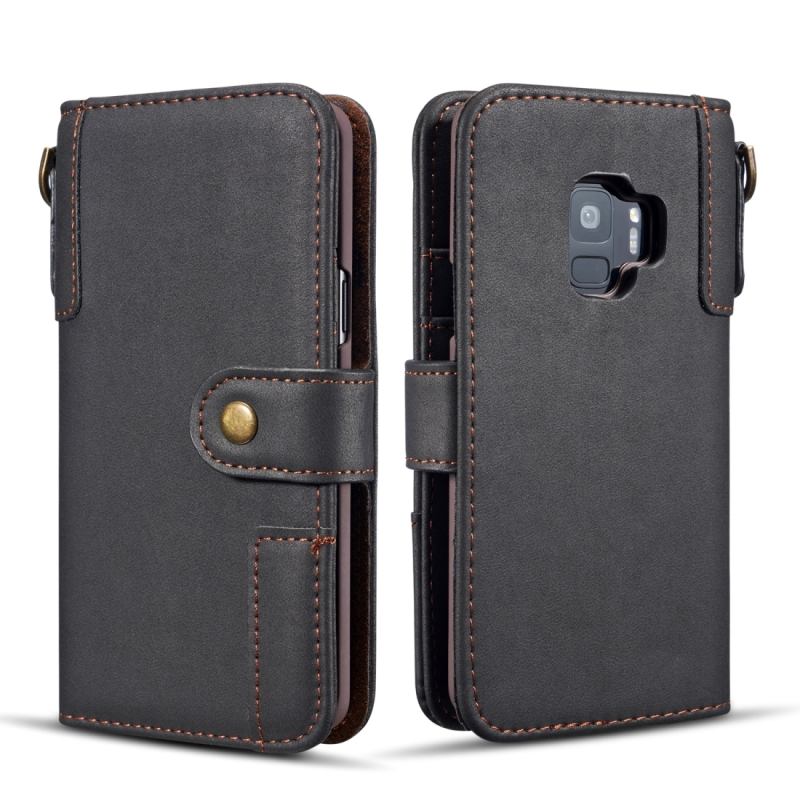 Cowhide Texture Horizontal Flip Leather Case for Galaxy S9 Plus, with Holder & Card Slots & Wallet & Sling (Black)