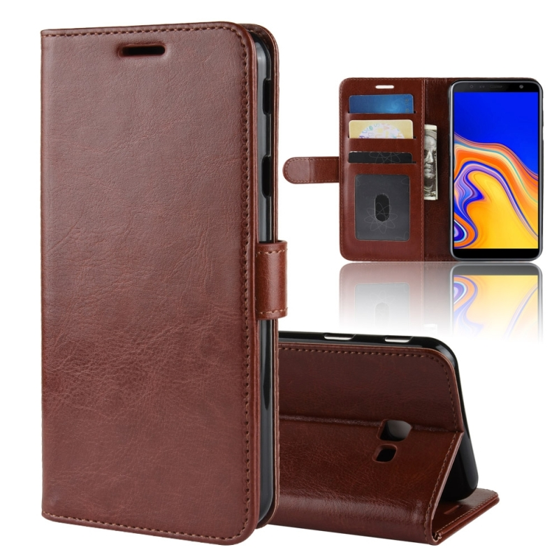R64 Texture Single Fold Horizontal Flip Leather Case for Galaxy J4+, with Holder & Card Slots & Wallet(Brown)