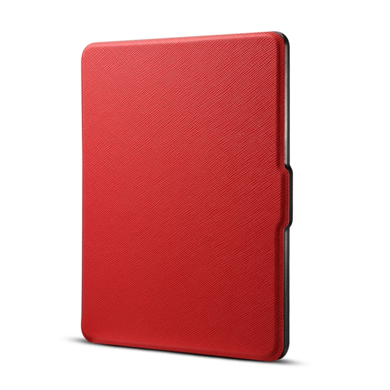 Cross texture Horizontal Flip Protective Case for Amazon Kindle Paperwhite 1 & 2 & 3 with Sleep / Wake-up Function (Red)