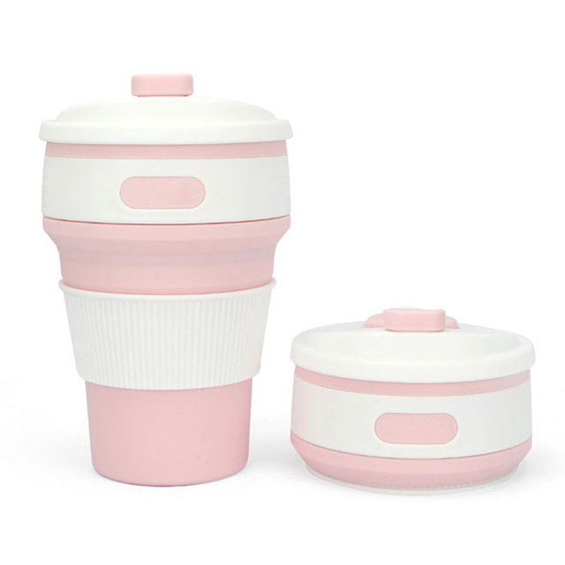 350ml Folding Portable Silicone Coffee Cup Multi-function Travel Cup (Pink)