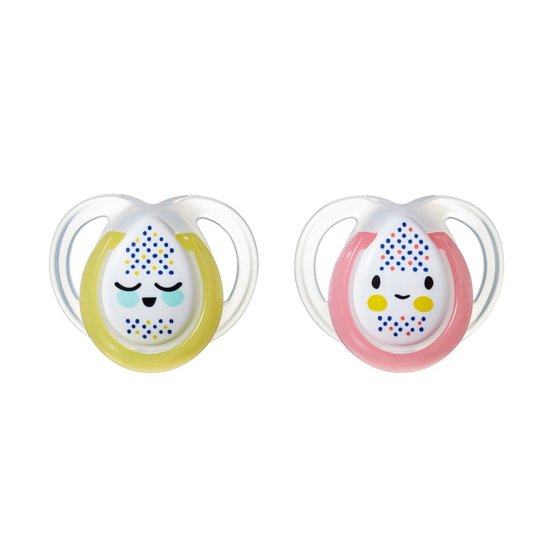 Tommee Tippee ανατομική πιπίλα σιλικόνης Closer to Nature Night Time Soother 0-6m 2Pk pink-yellow CTN-FED02 pink-yellow