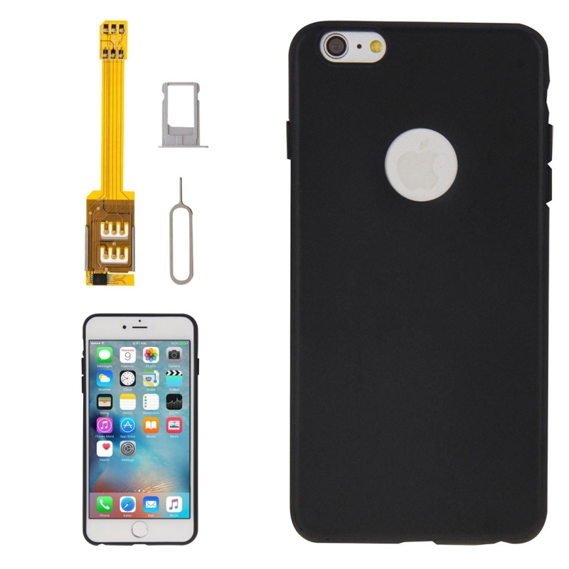 4 in 1 (Dual SIM Card Adapter + TPU Case + Tray Holder + Sim Card Tray Holder Eject Pin Key), For iPhone 6s Plus