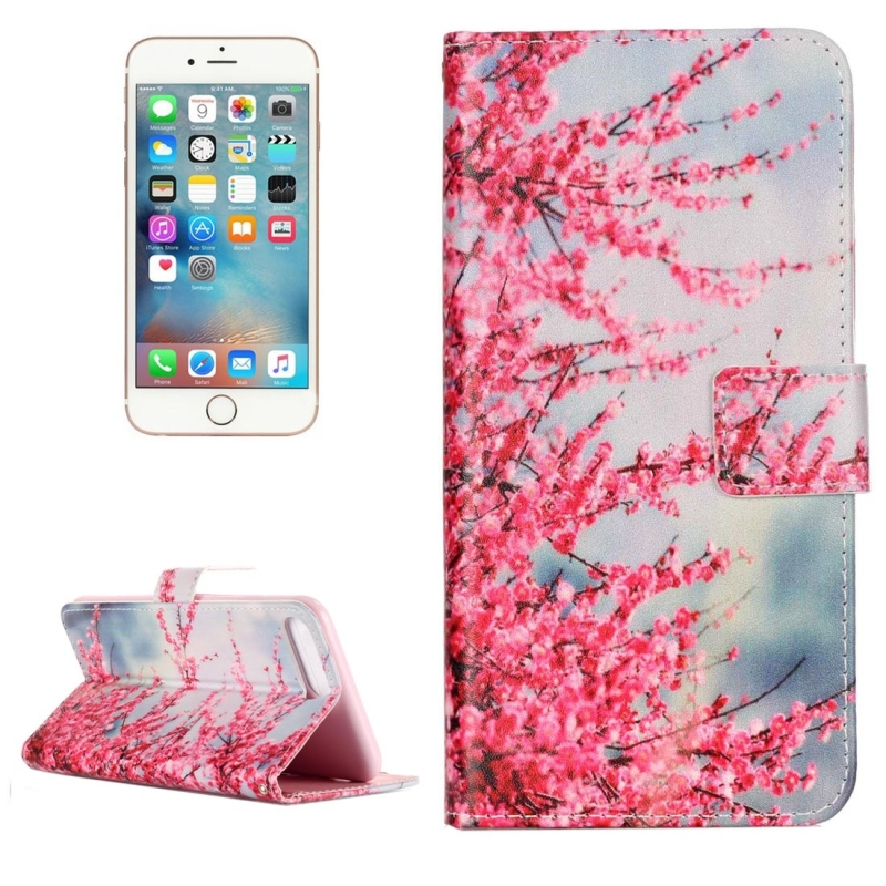 For iPhone 8 Plus & 7 Plus Peach Blossom Pattern Horizontal Flip Leather Case with Holder & Card Slots & Wallet