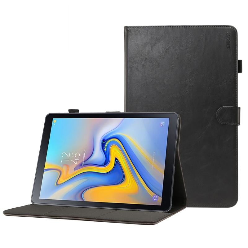 ENKAY Crazy Horse Texture Horizontal Flip Leather Case for Galaxy Tab A 10.5 T590 / T595, with Card Slots & Holder & Sleep / Wake-up Function(Black) (ENKAY)