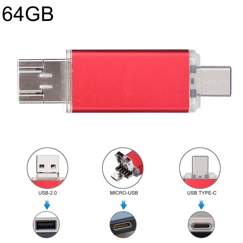 64GB 3 in 1 USB-C / Type-C + USB 2.0 + OTG Flash Disk, For Type-C Smartphones & PC Computer (Red)
