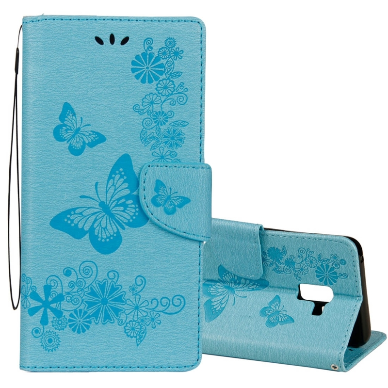 For Galaxy A8+ (2018) Vintage Embossed Floral Butterfly Pattern Horizontal Flip Leather Case with Card Slot & Holder & Wallet & Lanyard(Blue)