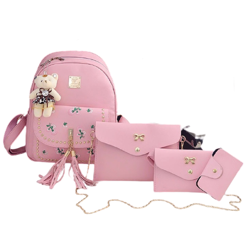 4 in 1 Embroidery Dandelion PU Leather Double Shoulders School Bag Travel Backpack Bag with Bear Doll Pendant (Pink)