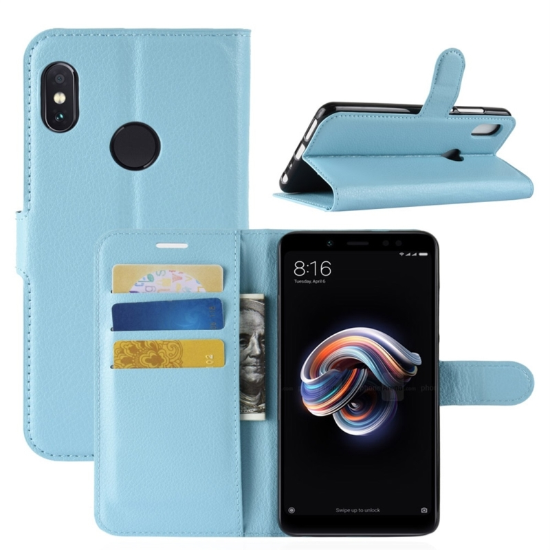For Xiaomi Redmi Note 5 Pro Litchi Texture Horizontal Flip Protective Leather Case with Holder & Card Slots & Wallet (Blue)