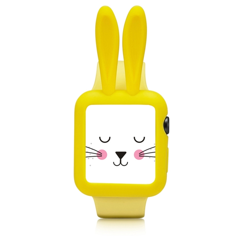 For Apple Watch Series 3 & 2 & 1 42mm Silicone Rabbit Protective Shell Watch Strap (Yellow)