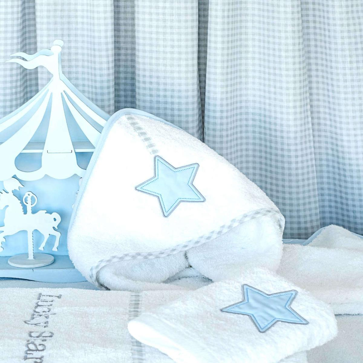 Κάπα Βρεφική Des. 309 Lucky Star White-Blue Baby Oliver One Size 100% Βαμβάκι