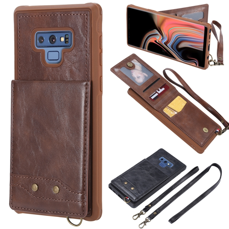 Vertical Flip Fashion Shockproof Leather Case for Galaxy Note9, with Holder & Photo Frame & Card Slots & Lanyard(Coffee)