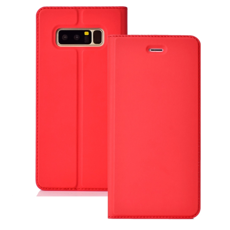 Ultra-thin Pressed Magnetic Card TPU+PU Leathe Case for Galaxy Note 8, with Card Slot & Holder (Red)