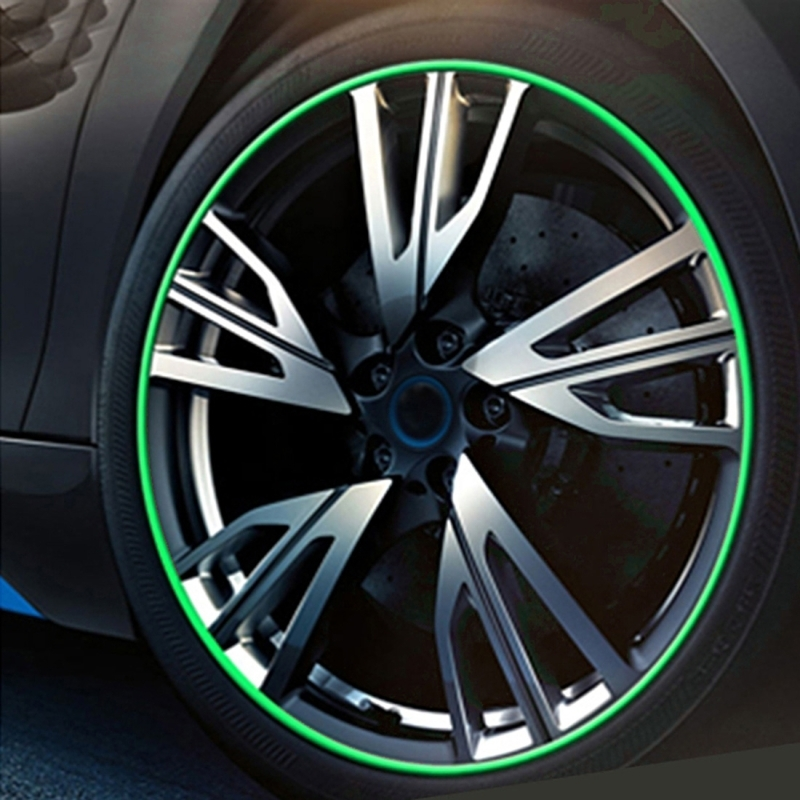 Universal Decorative Scratchproof Stickup 8M Flexible Car Wheel Hub TRIM Mouldings Decoration Strip(Green)