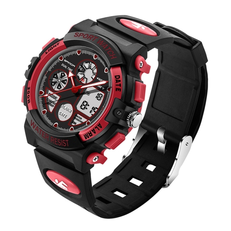 SANDA 4474 Luminous Alarm Function Calendar Display True Seconds Disk Design Multifunctional Sport Men Electronic Watch with Plastic Band(Red) (SANDA)