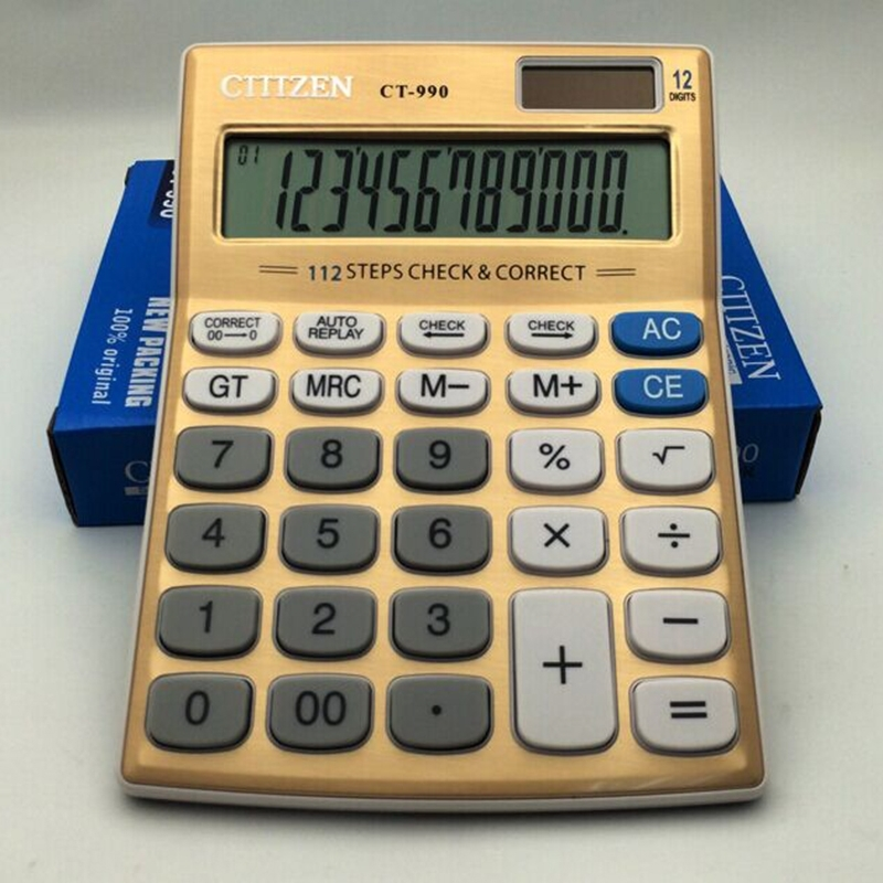 CT-990 Electronic Calculator 12 Bit Superior Quality Large Solar and AA Battery Dual Power Calculator