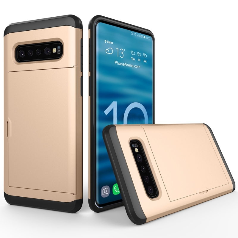 Shockproof Rugged Armor Protective Case for Galaxy S10, with Card Slot (Gold)