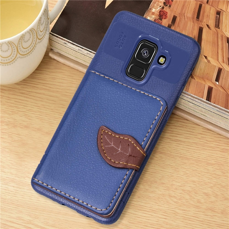 Leaf Style Magnetic Leather Case for Galaxy A8+ (2018), with Holder & Card Slots & Wallet & Photo Frame (Dark Blue)