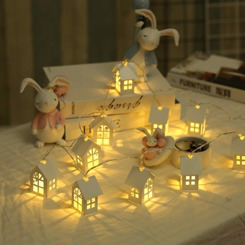 1.2m 10LEDs Garland Wood House String LED Room Decor String Lamp Wedding Party Holiday Fairy Novelty Night Light(Warm White)