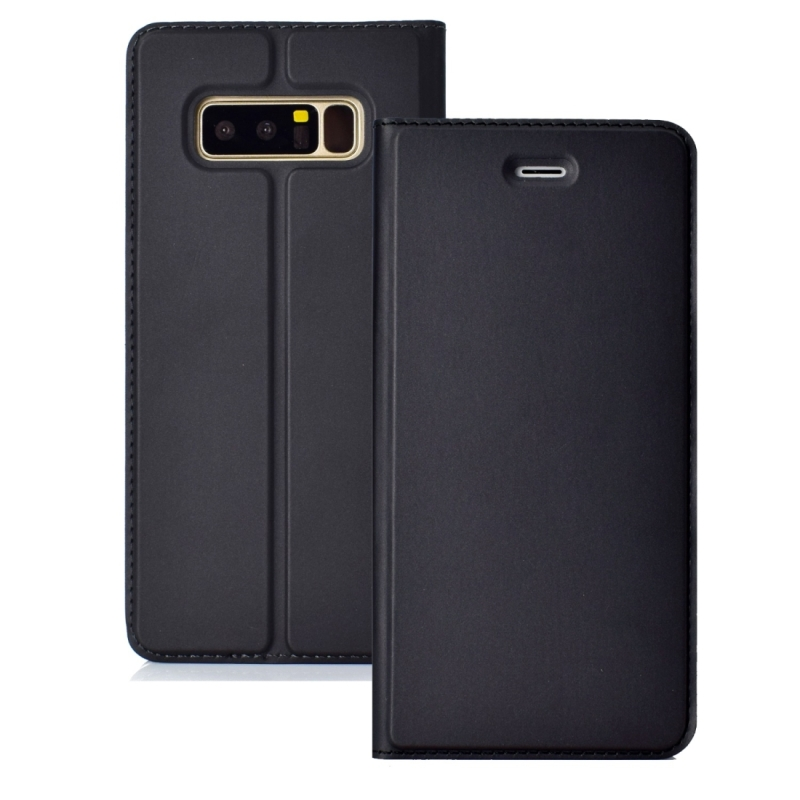 Ultra-thin Pressed Magnetic Card TPU+PU Leathe Case for Galaxy Note 8, with Card Slot & Holder (Black)