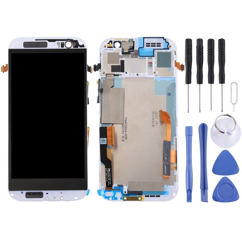 LCD Screen and Digitizer Full Assembly with Frame for HTC One M8 Dual SIM (White)