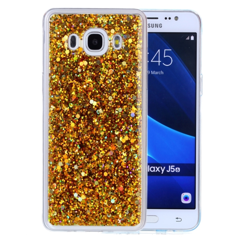 For Galaxy J5 (2016) Glitter Powder Soft TPU Protective Case (Gold)