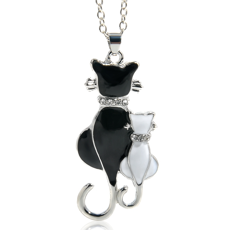 Cute Double Kitty Design pendant necklace Fashion Women Charming Alloy Chain Necklace Sweater Necklace(Silver Plated)