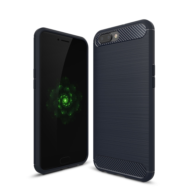 For OPPO R11 Plus Brushed Texture Carbon Fiber Shockproof TPU Rugged Armor Protective Case (navy)
