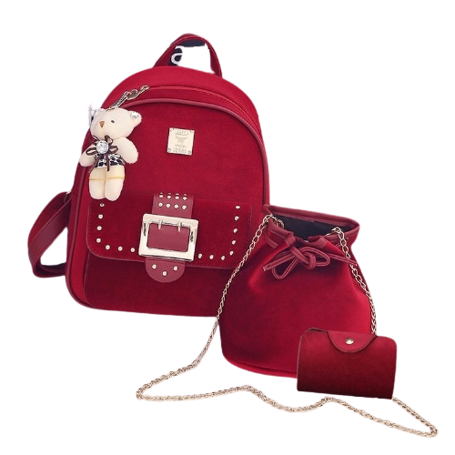 3 in 1 Gold Velvet Double Shoulders School Bag Travel Backpack Bag with Bear Doll Pendant (Red)