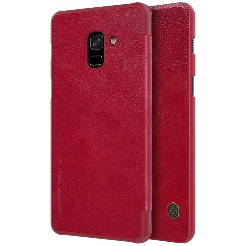 NILLKIN for Galaxy A8 (2018) Crazy Horse Texture Horizontal Flip Leather Protective Case Back Cover with Card Slots (Red) (NILLKIN)