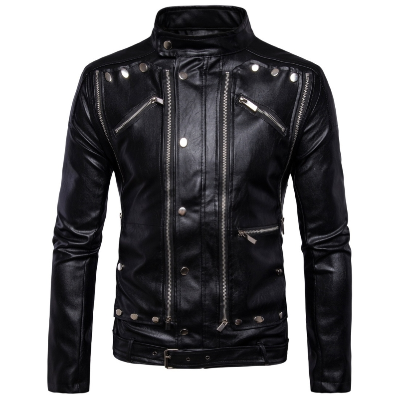 Fashion Men Multi Zippers Leather Classic Rivets Punk Leather Motorcycle Biker Jacket, Size: 3XL