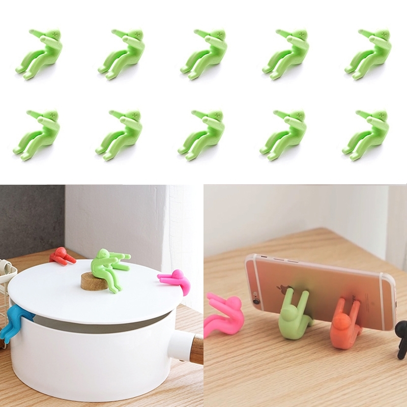 10 PCS Kitchen Creative Little Men Shape Silicone Lifting Pot Cover Anti-overflowing Tool(Green)
