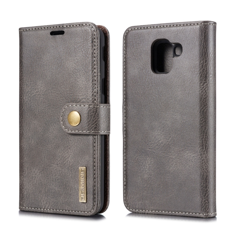 DG.MING Crazy Horse Texture Flip Detachable Magnetic Leather Case for Galaxy J6 (2018), with Holder & Card Slots & Wallet (Grey) (DG.MING)