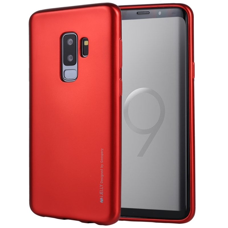 GOOSPERY I JELLY METAL for Galaxy S9+ TPU Full Coverage Soft Protective Back Case (Red) (GOOSPERY)