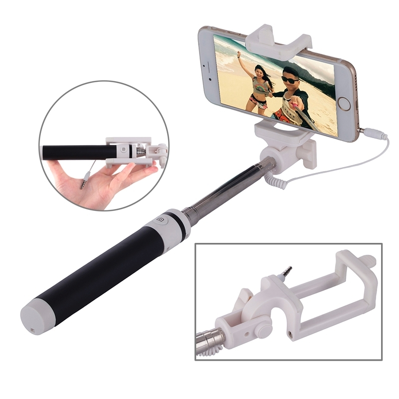 Portable Wire Controlled Macarons Selfie Stick Monopod Folding Extendable Pocket Handheld Holder, For iPhone, Galaxy, Huawei, Xiaomi, LG, HTC and Other Smart Phones, Folded Length: 18.9cm, Max Extension Length: 81.6cm(Black)