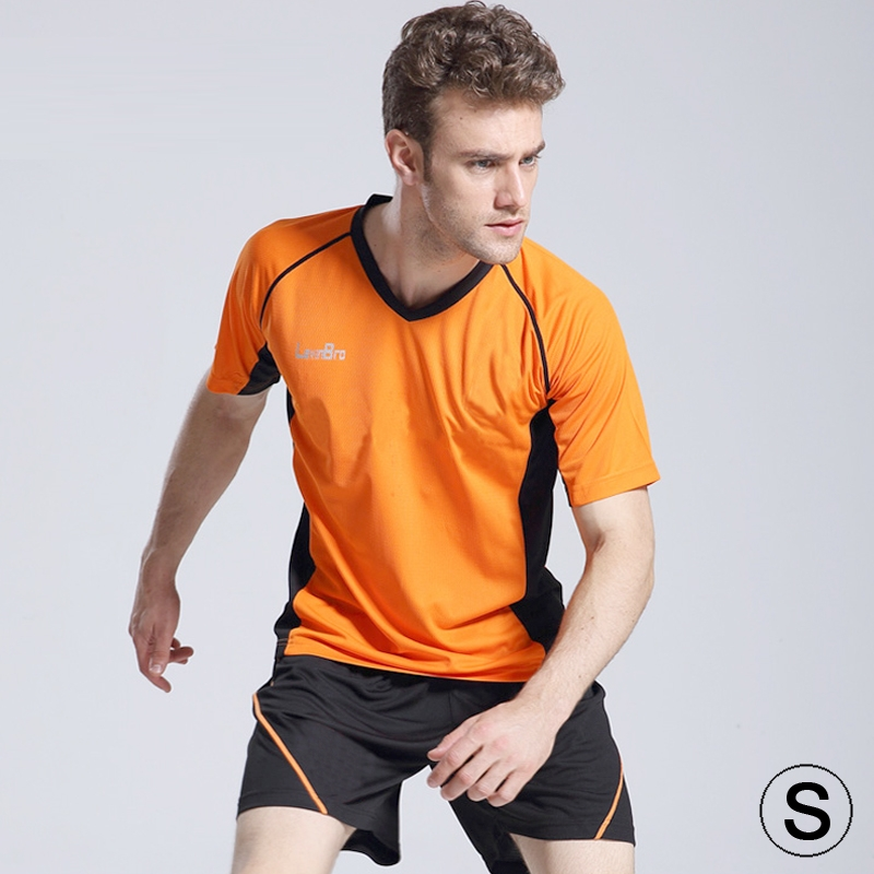 Football / Soccer Team Short Sports (T-shirt + Short) Suit, Orange + Black (Size: S)