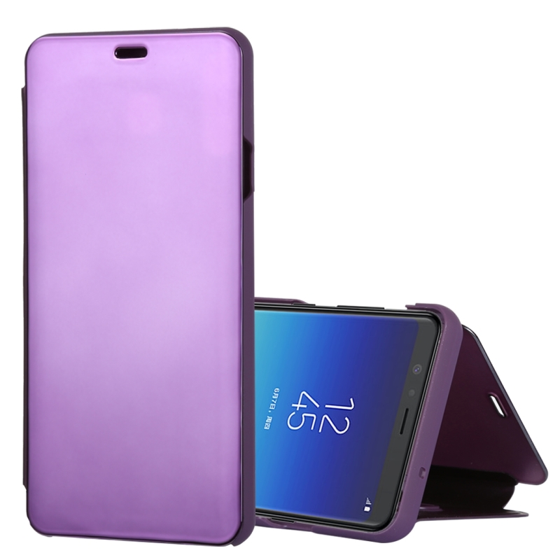 Mirror Clear View Horizontal Flip PU Leather Case for Galaxy A8 Star , with Holder (Purple)