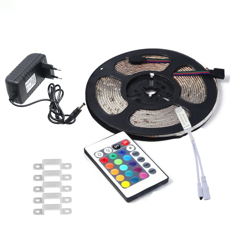 YWXLLight 5M 2835 SMD Waterproof RGB LED Strip Light with 24 Key Remote Control, EU Plug (YWXLight)
