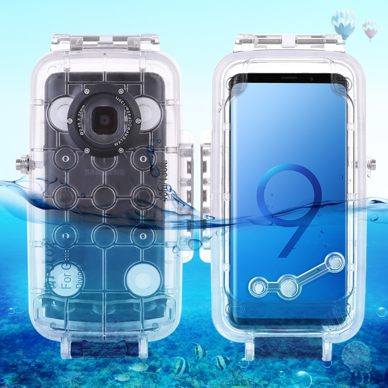 PULUZ 40m/130ft Waterproof Diving Housing Photo Video Taking Underwater Cover Case for Galaxy S9, Only Support Android 8.0.0 or below(Transparent) (PULUZ)