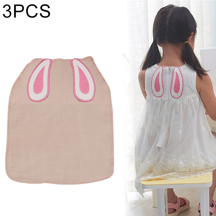 3 PCS Cotton Yarn Rabbit Ear Pattern Sweat-absorbent Back Towel for Child, Size: M, Random Color Delivery