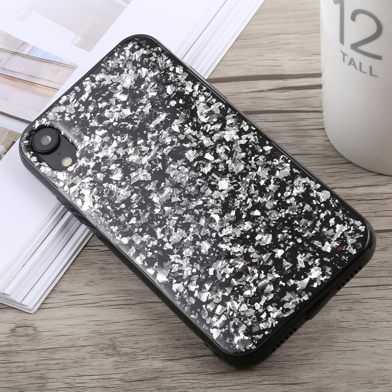 Glittery Powder Shockproof Soft TPU Case for iPhone XR (Silver)