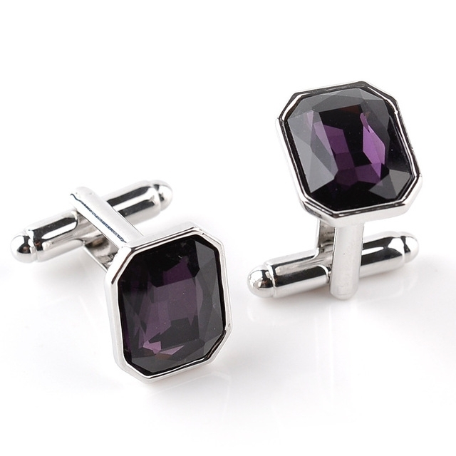 Fashion diamond-encrusted Cufflinks(Purple)