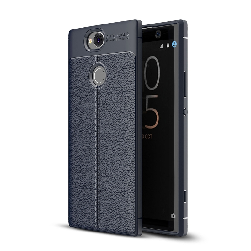 Litchi Texture TPU Case for Sony Xperia XA2 Plus(Navy Blue)