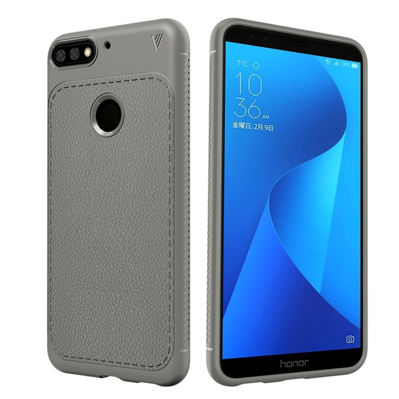 Lenuo Leshen Series for Huawei Honor Play 7C TPU Litchi Texture Dropproof Protective Back Cover Case (Grey) (lenuo)