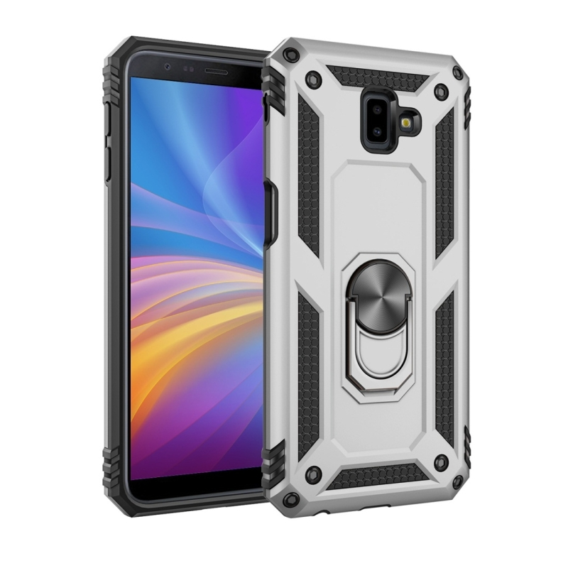 Armor Shockproof TPU + PC Protective Case for Galaxy J6 Plus, with 360 Degree Rotation Holder(Silver)