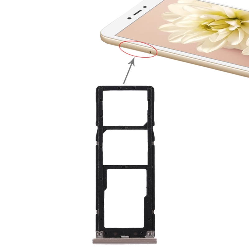 2 SIM Card Tray + Micro SD Card Tray for Xiaomi Redmi Note 5A(Gold)
