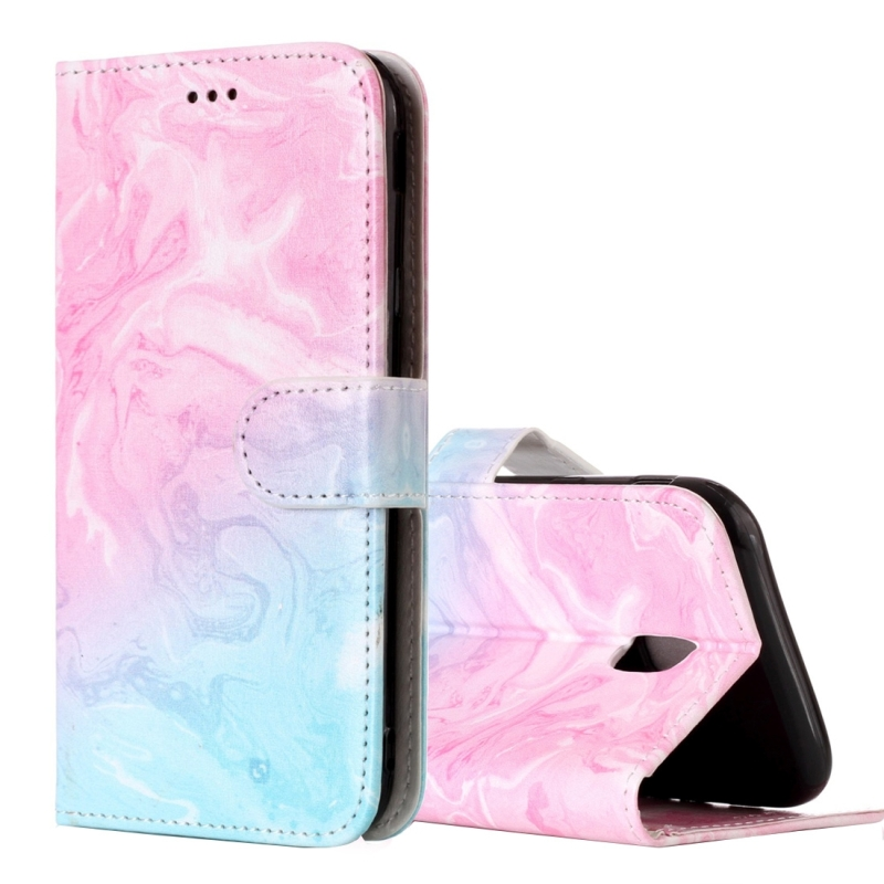 For Galaxy J5 (2017) (EU Version) Pink Green Marble Pattern Horizontal Flip Leather Case with Holder & Card Slots & Wallet