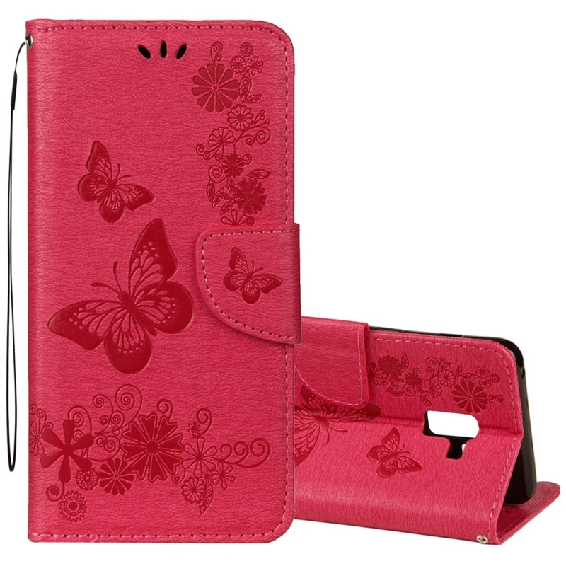 For Galaxy A8 (2018) Vintage Embossed Floral Butterfly Pattern Horizontal Flip Leather Case with Card Slot & Holder & Wallet & Lanyard(Red)