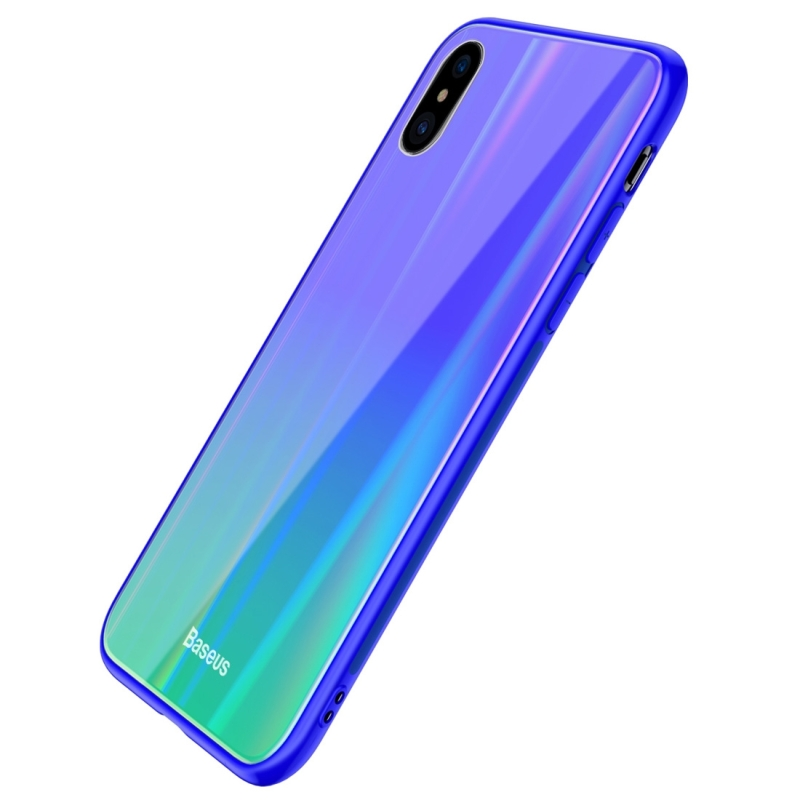 Baseus Laser luster Glass Case for iPhone X (Blue+Green) (Baseus)